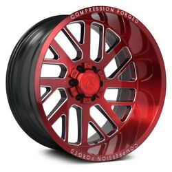 Axe Ax2.2 Compression Forged Wheels 20x10 -19, 8x170, 125.2 Red Rims Set Of 4