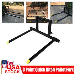 3 Point Quick Hitch Pallet Fork Category 1 Tractor 47'' Carry Forks Mover Adjust