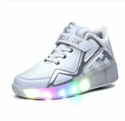 2021 Children Shoes Kids Glowing Sneakers With Two Wheels Kids Roller Skate Shoe