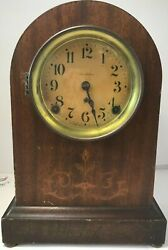 Antique Seth Thomas Mantle Arch Clock Scrolled Mahogany Case Needs Tlc And Repair