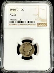 1916 D Silver United States Mercury Dime 10c Coin Ngc Mint Ag 3 Key Date
