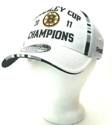 Reebok Nhl Cap Boston Bruins 2011 Stanley Cup Champions Player On Ice Hat White