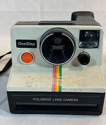 Vintage Polaroid One Step Land Camera Rainbow Stripe Attached Strap As Is