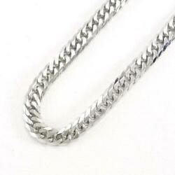 18k White Gold Necklace About49cm Curb Chain 6sides Double Free Shipping Used