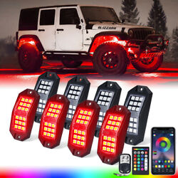 8 Pods Rgb Led Rock Lights Underglow Offroad Truck Boat Lamp Bluetooth Remote
