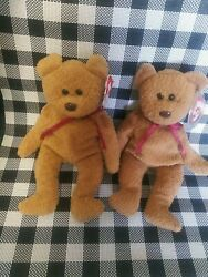 2 Ty Beanie Curly The Bears 1st Edition Original Rare With Many Tag Errors -4052
