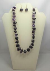 Amethyst Sterling Silver Necklace And Earring Set February Birthstone 226