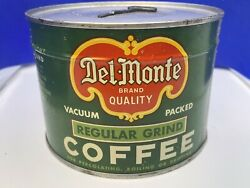 """Vintage Del Monte Full Unopened Coffee Can Tin 1lb With Key """"nice"""""""