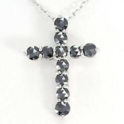18k White Gold Necklace Blackdiamond About4.7g About40cm Free Shipping Used