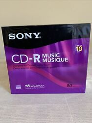 Sony Cd-r Music 80 Min Compact Discs Recordable In Slim Jewel Cases 10 Pack