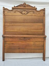 Vtg Victorian American Tall Tiger Oak Bed Double Or Queen Headboard And Footboard