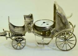 Antique French Silver Miniature Carriage Model Verge Fusee Desk Clock C1800and039s