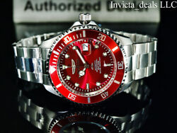 Menand039s 47mm Pro Diver Automatic 24j Red Dial Coin Edge Bezel Silver Watch