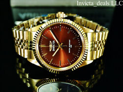 Mens Specialty Jubilee Quartz Brown Dial Gold Tone Stainless Steel Watch