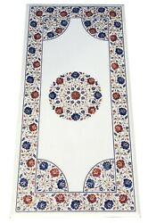 4'x2' White Marble Dining Table Top Carnelian Lapis Floral Inlay Art Decors W092
