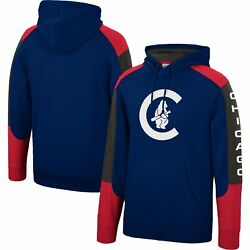 Chicago Cubs Mitchell And Ness Fusion Fleece Pullover Hoodie - Navy