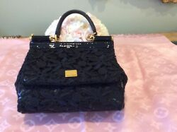 Dolce And Gabbana Black Lace With Decorative Chain Evening Bag