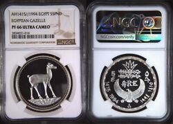 1994 Egypt, 5 Pounds Silver Proof Coin -the Gazelle Ngc Pf 66