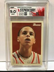 2009 Bowman And03948 Stephen Curry Rookie Rc 106 Hga 9 /2009 Mint Psa