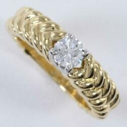Platinum 900 18k Yellow Gold Ring 9.5 Size Diamond About5.7g Free Shipping Used