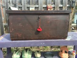 1700's Pine 6 Board Chest Original Forged Hardware, Finish, And Lock With Key