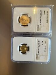 1987 Gold Eagle Ngc Ms70 2 Coin Set 10 5 Rare Low Pop Opportunity