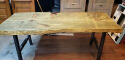 6 Foot Long Thick Live Edge Pressure Treated Table With Cast Iron Legs