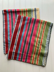 Pottery Barn Pillow 2 Shams Belize Striped Colorful Pair Standard 25 X 29