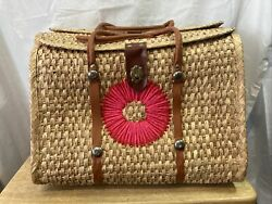 2 Straw Tote Beach Bags Large with Handles and Clasps. S8 $19.99