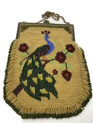 Antique Beaded Purse Peacock Beading Victorian Vintage
