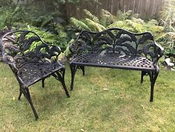 Rare Antique Fern Cast Iron Bench Stuart Iron Works And Chair For Garden