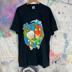 Vintage 1994 The Flinstones Bam Bam And Pebbles Earth Graphic Tee