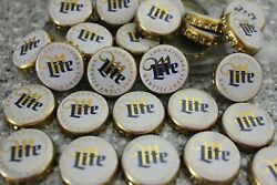 100 Miller Lite Beer Bottle Caps Gold White No Dents Free Shipping C Store