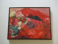 Vintage Oil Painting Russo Modernist Still Life Flowers Floral Red Expressionist