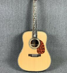 Xd45 Acoustic Electric Guitar Abalone Rosewood Back&side Bodyandneck Inlaid