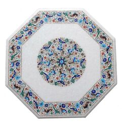 White Marble Dining Table Top Precious Lapis Floral Patio Garden Decorative W136