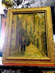 Rare Out Of Attic Oil On Canvas Orientalist Painting 32 X 26 Unsigned