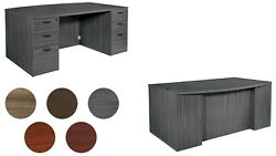 Bow Front Executive Desk With Drawers Glass Panel Option Gray Walnut Many Colors
