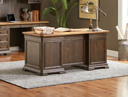 Real Wood Executive Desk Distressed Wood With Antique Hardware Two Tone Finish