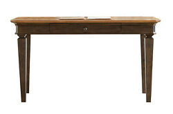 Real Wood Writing Desk Has Distressed Wood With Antique Hardware
