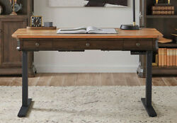 Real Wood Adjustable Height Writing Desk Distressed Wood With Antique Hardware