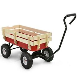 Outdoor Pulling Garden Cart Wagon With Wood Railing Lawn And Gardening Tools