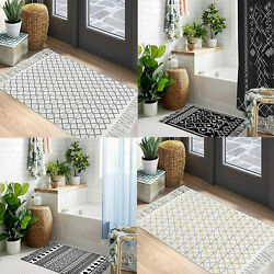 Boho Cotton Multi-size With Tassel Rugs Hand-woven Washable Throw Indoor Mats