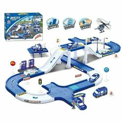 Police City Track Vehicle Toy Playset With Garage Car Wash To Kids Age 3 4 5