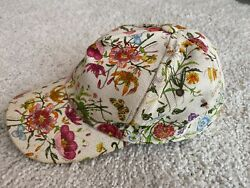 Vintage Floral Hat Baseball Cap Womens Ivory Multicolor Flowers Butterfly