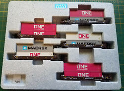 N Kato 106-6194 Bnsf Set Gunderson Maxi-well Cars W/containers Maersk One