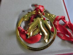 1988 Holly Christmas Mobile Ornament 24 Carat Gold Plated Georg Jensen In Box