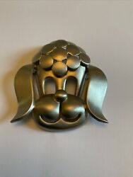 Pierre Cardin Vintage Iconic Poodle Pin Brooch Runway 1960s Large Pewter