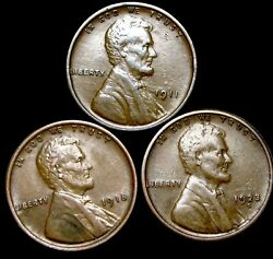 1911 1918 1923-s Lincoln Cent Wheat Penny ---- Nice Lot ---- T068