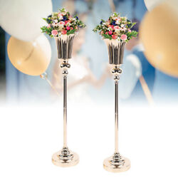 Metal Iron Wedding Centerpiece Vases For Tables Set Of 2 Party Gold Centerpieces